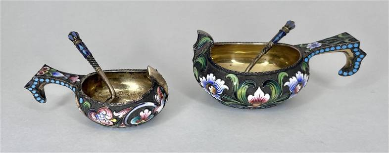 Two miniature Russian silver & enamel kovshes