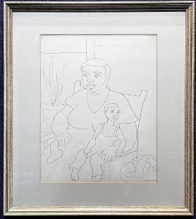 Ink draw by Stella Drabkin, Mother & Child, 1933