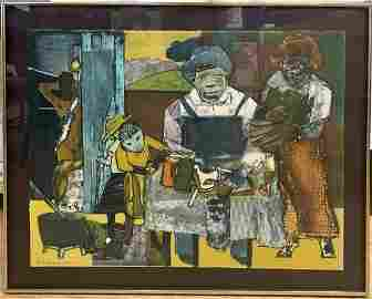 Signed lithograph 'The Family' by Romare Bearden, c1970