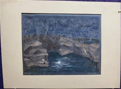 Stella Drabkin watercolor/gouache, titled Quarry 1944
