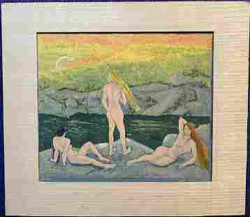 Stella Drabkin watercolor/gouache,titled Bathers 1944