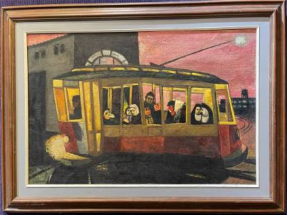 Painting by Gregorio Prestopino, The Trolley.
