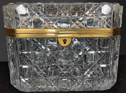 Glass dresser box with key, circa 1970