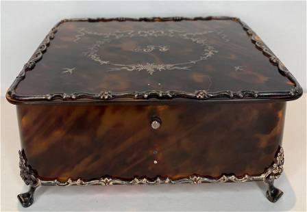 Inlaid silver dresser box