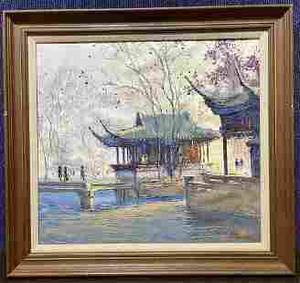 Painting of Chinese house by K.W Yu