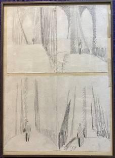 Pencil drawing, Brooklyn Bridge,William Clutz
