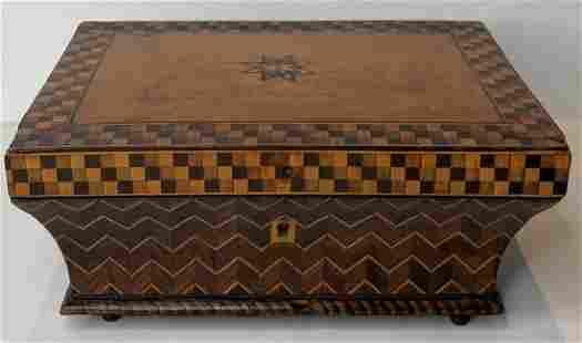 Inlaid wood sewing box, c.1875