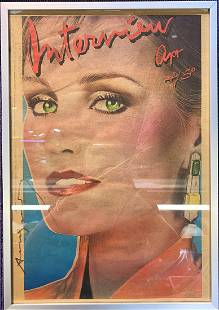 Framed Interview magazine w/Andy Warhol sign