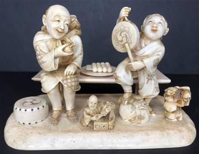 Japanese bone carving, Festival, by Gyokushin, c1900