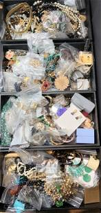 Four trays of costume jewelry(The Twins)