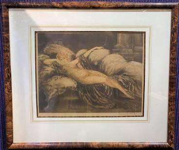 Orig Louis Icart etching, Golden Veil(Meditation)