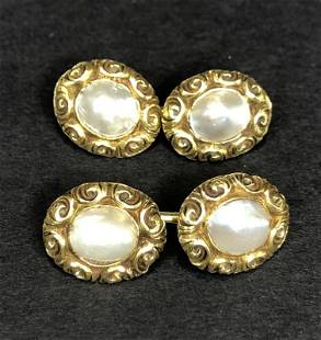 18k and baroque cufflinks, C & C co, 7.7 dwts