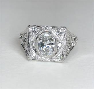 Plat diamond ring, .75ct oval(est)c.1920, 3.05dwts