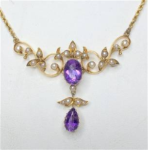 14k amethyst necklace,c.1900,chain later, 17.8 dwts