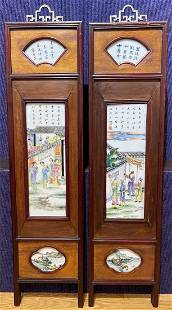 Pair of porcelain and wood Chinese panels