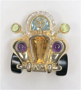14k and colored stone brooch of car, 11.5 dwts