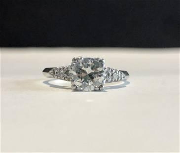 Platinum & diamond ring, 1.07 cts GIA, 3.05 dwts