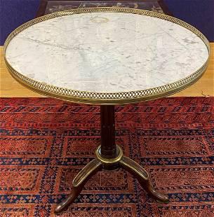 Louis XVI mahogany & marble Gueridon table
