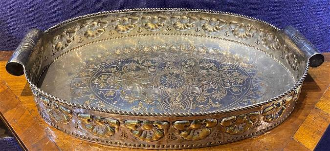 Large oval silver-on-brass table top serving tray