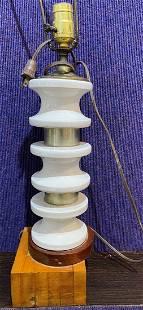 Modern ceramic lamp on wood base, c1945