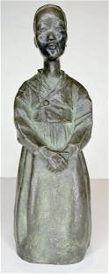 Bronze figure by Eudald S Guell of a young girl, c1940