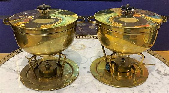 Pair of Tommy Parzinger Chafing dishes,c,1965