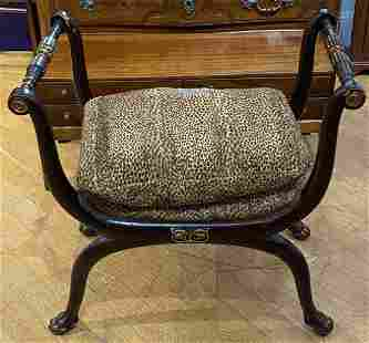 Roman style bench, paws & leopard upholstery