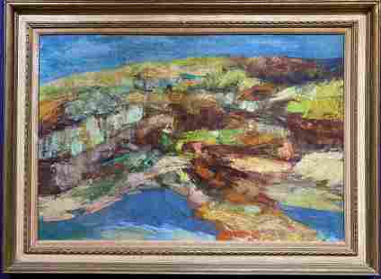 Large abstract painting signed illegibly