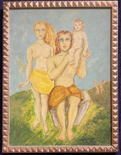 Painting of a family by Stella Drabkin, dated 1952