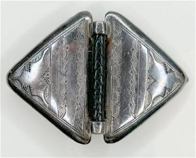 Hermes silver and leather buckle