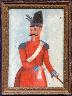 Persian/Indian reverse glass Painting of nobleman,19thc
