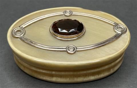 14k gold, horn and smokey topaz box