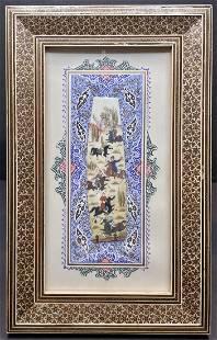 Persian khatam painting on bone, hunting scene