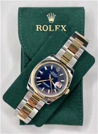 18k gold & stainless steel Rolex in box, with papers