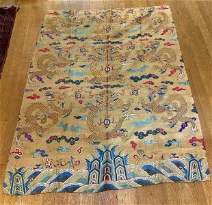 Qianlong silk brocade dragon panel 55 inches  x 74 inch