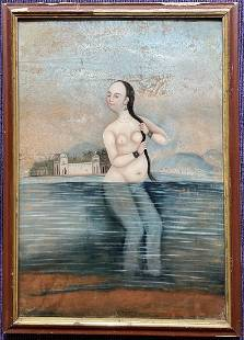 Persian/Indian reverse glass painting of courtesan