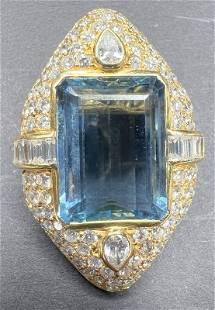 18k diamond and aquamarine enhancer,GIA,6.35dwt