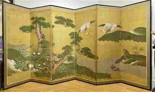 6-panel Japanese paper & gold leaf screen, Edo per.