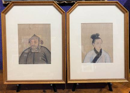 Pair of 18th/19thc Chinese portrait paintings on silk