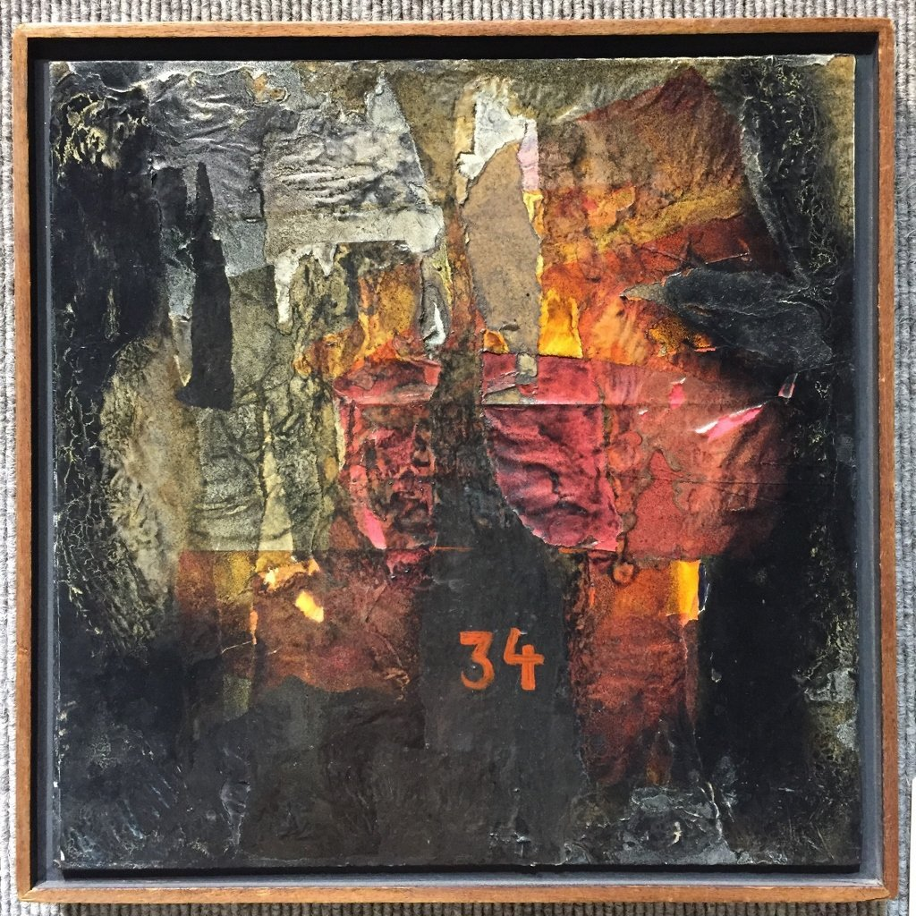 Two abstract paintings, Sotheby's label