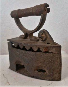 Antique Cast Iron Coal Charcoal Wood Handle Clothes