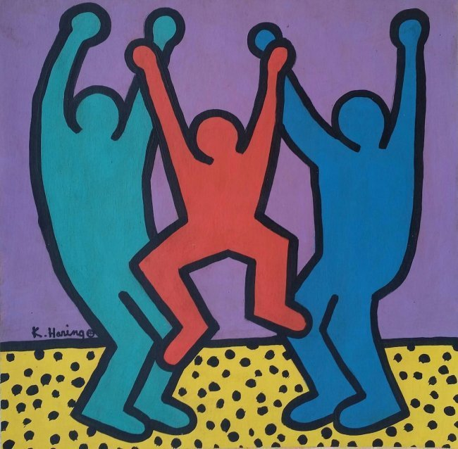 Keith Haring Mixed Media on Board, (Attrib 1958-1990)
