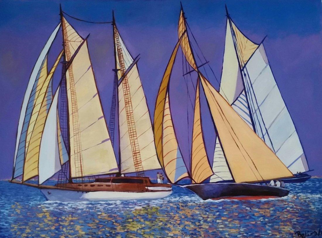 Latin American Art Marina Sailboat R. Pelaez