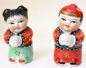 Asian Men Women Couple Set Figurine Ceramic Porcelain.