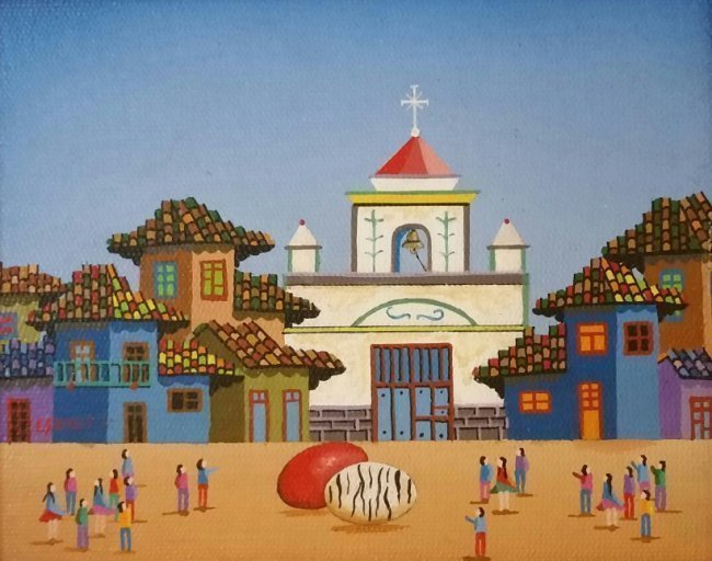 Naive Art Landscape Latin American Art Naif E.guhlle - 2