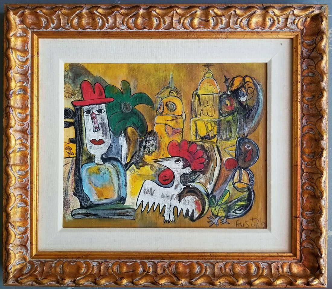 LATIN AMERICAN NAIVE ABSTRACT ART ROOSTER  JOSE FUSTER