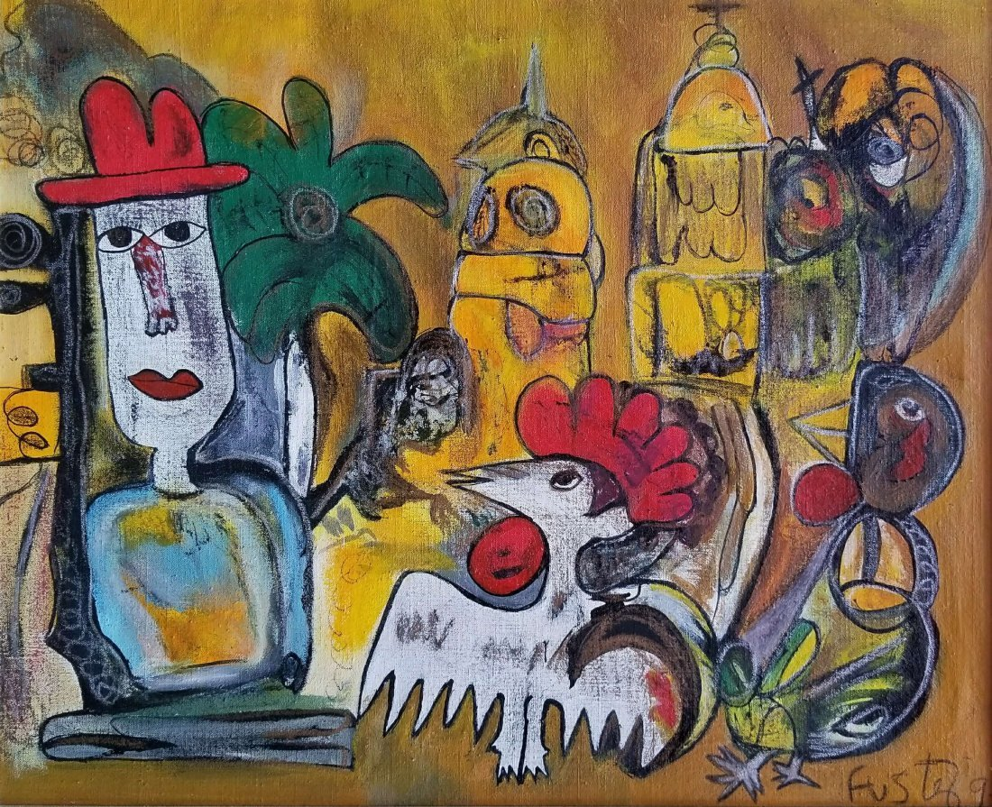 LATIN AMERICAN NAIVE ABSTRACT ART ROOSTER  JOSE FUSTER - 2
