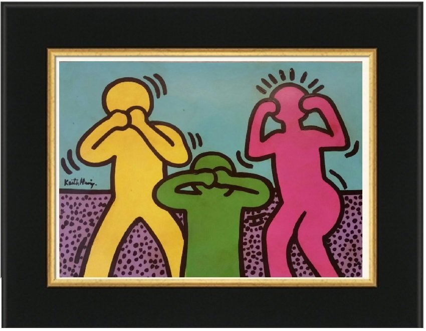 Keith Haring Mixed Media on Paper, (1958-1990)