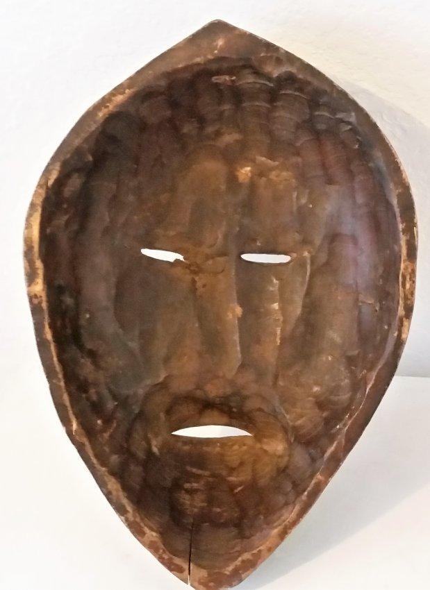 African Mask Wood Hand Carved Vintage Antique Sculpture - 4