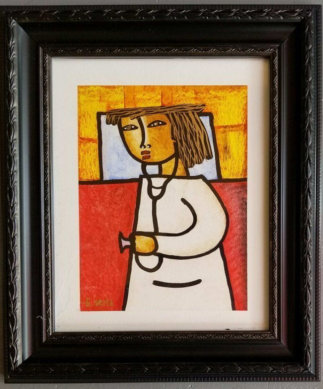 Latin American Art G.Sierra Naive Doctor Drawing COA
